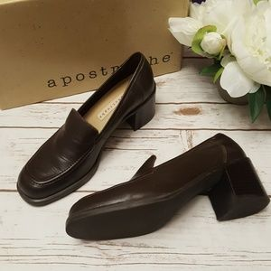 Apostrophe Hope Leather Loafer Heels